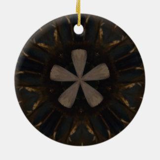 Kaleidoscope Design Dark Brown Rustic Art Round Ceramic Ornament