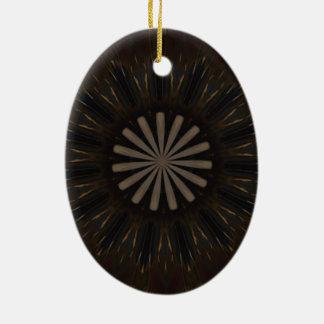 Kaleidoscope Design Dark Brown Rustic Floral Ceramic Oval Ornament