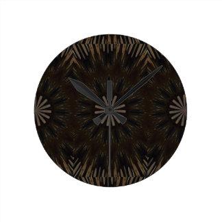 Kaleidoscope Design Dark Brown Rustic Floral Wall Clocks