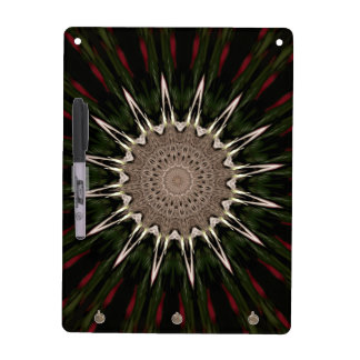 Kaleidoscope Design Dark Green Red Brown Dry Erase Board