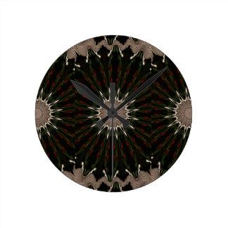 Kaleidoscope Design Dark Green Red Brown Wallclocks