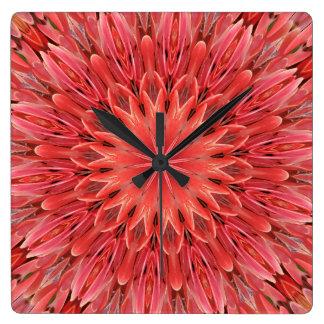 Kaleidoscope Design Floral Red Clocks
