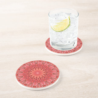 Kaleidoscope Design Floral Red Coasters