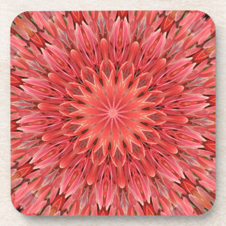 Kaleidoscope Design Floral Red Drink Coasters