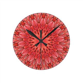 Kaleidoscope Design Floral Red Wall Clock