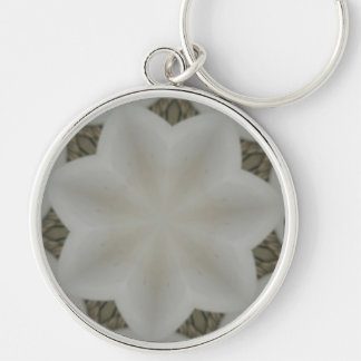 Kaleidoscope Design Flower Soft White Keychain
