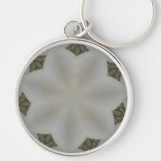 Kaleidoscope Design Flower Soft White Silver-Colored Round Keychain
