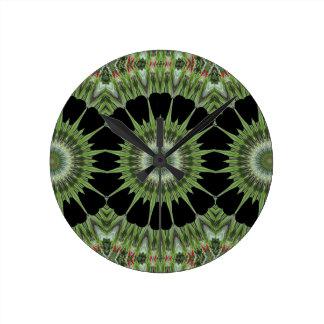 Kaleidoscope Design Green Black Clock
