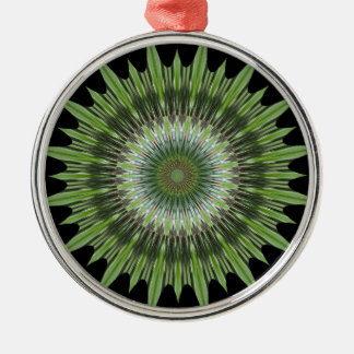 Kaleidoscope Design Green Black Metal Ornament