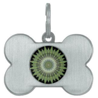 Kaleidoscope Design Green Black Pet ID Tag