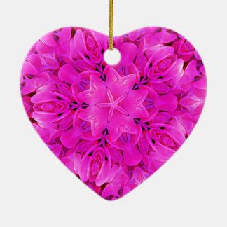 Kaleidoscope Design Hot Pink Floral Art Ceramic Heart Ornament