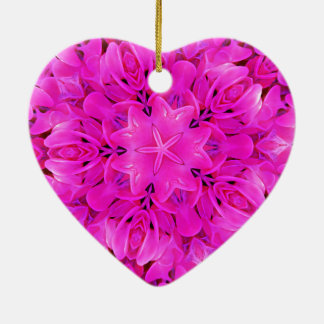 Kaleidoscope Design Hot Pink Floral Art Ceramic Ornament