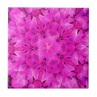 Kaleidoscope Design Hot Pink Floral Art Ceramic Tiles