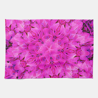 Kaleidoscope Design Hot Pink Floral Art Hand Towel