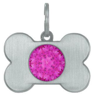 Kaleidoscope Design Hot Pink Floral Art Pet Name Tags