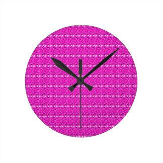 Kaleidoscope Design Hot Pink Floral Art Wall Clocks