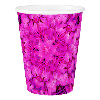 Kaleidoscope Design Hot Pink Floral Party Cup Paper Cup
