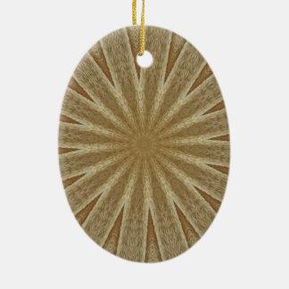 Kaleidoscope Design Light Brown Rustic Floral Ceramic Oval Ornament