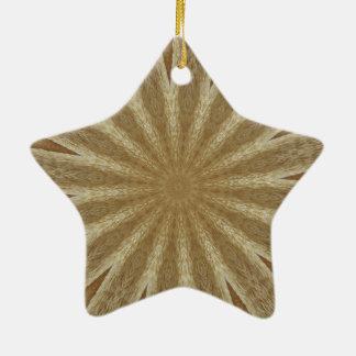 Kaleidoscope Design Light Brown Rustic Floral Ceramic Star Ornament