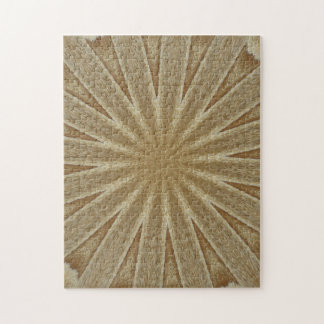 Kaleidoscope Design Light Brown Rustic Floral Jigsaw Puzzle