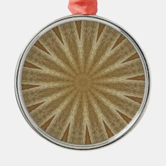 Kaleidoscope Design Light Brown Rustic Floral Metal Ornament