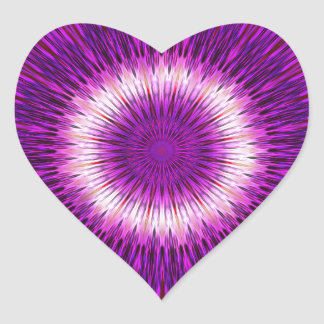 Kaleidoscope Design Purple Pink Art Heart Sticker