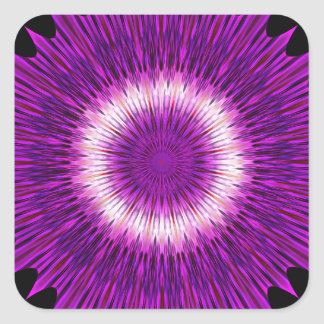 Kaleidoscope Design Purple Pink Art Square Sticker