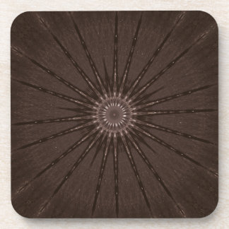 Kaleidoscope Design Rustic Brown Beverage Coasters