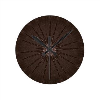 Kaleidoscope Design Rustic Brown Clocks