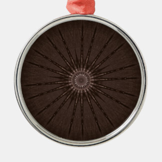 Kaleidoscope Design Rustic Brown Silver-Colored Round Ornament