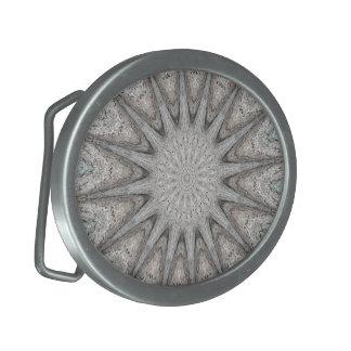 Kaleidoscope Design Rustic Light Gray Colors Belt Buckle