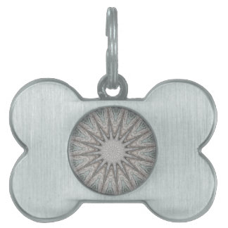 Kaleidoscope Design Rustic Light Gray Colors Pet Name Tag