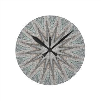 Kaleidoscope Design Rustic Light Gray Colors Wall Clocks