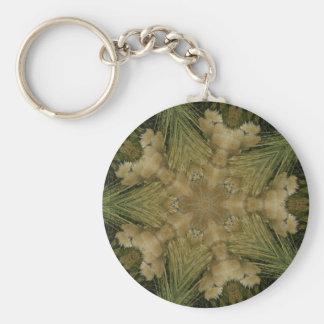 Kaleidoscope Design Star from Pampas Grass Green Basic Round Button Keychain