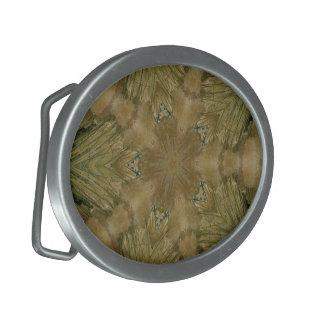 Kaleidoscope Design Star from Pampas Grass Green Oval Belt Buckles