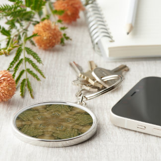 Kaleidoscope Design Star from Pampas Grass Green Silver-Colored Round Keychain