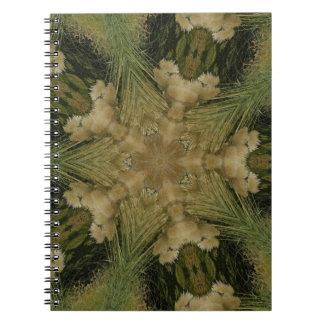 Kaleidoscope Design Star from Pampas Grass Green Spiral Notebook