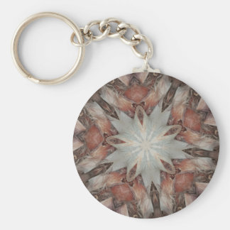 Kaleidoscope Design Star from Trunk of Palm Tree Basic Round Button Keychain