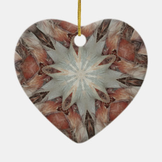 Kaleidoscope Design Star from Trunk of Palm Tree Ceramic Heart Ornament