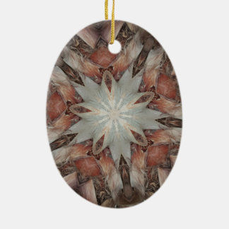 Kaleidoscope Design Star from Trunk of Palm Tree Ceramic Oval Ornament