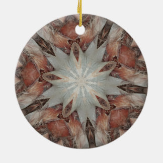 Kaleidoscope Design Star from Trunk of Palm Tree Round Ceramic Ornament