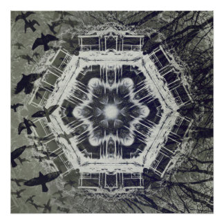 Kaleidoscope Dock on Water, Black and White Poster
