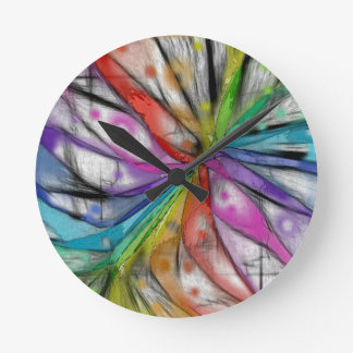 Kaleidoscope Dragonfly Round Clock