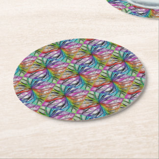 Kaleidoscope Dragonfly Round Paper Coaster