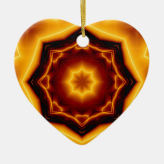 Kaleidoscope Eight Pointed Star on Fire Ceramic Ornament
