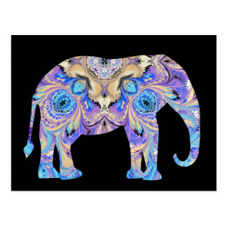 Kaleidoscope Elephant Postcard Black Background