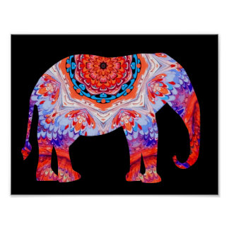 Kaleidoscope Elephant Poster in Blue and Orange