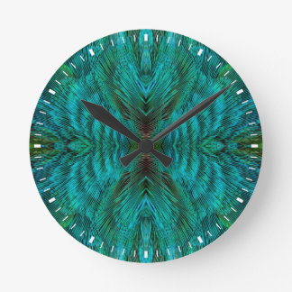 Kaleidoscope Feather Design Round Clock
