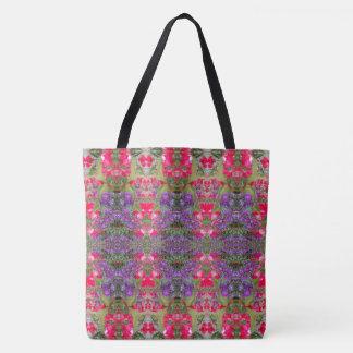 Kaleidoscope Flower Pattern 20 LARGE Tote Bag