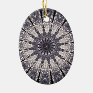 Kaleidoscope Flower Shades of Blue and Grey Ceramic Oval Ornament